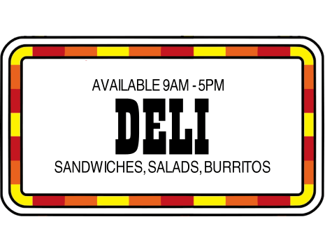 Try the delicious sandwiches, salads, and burritos from our deli!
